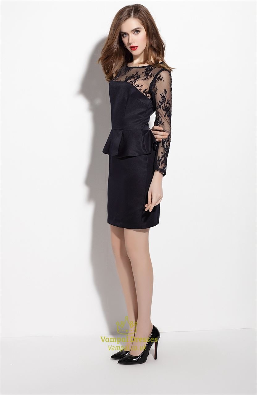 Peplum black dress with lace sleeves