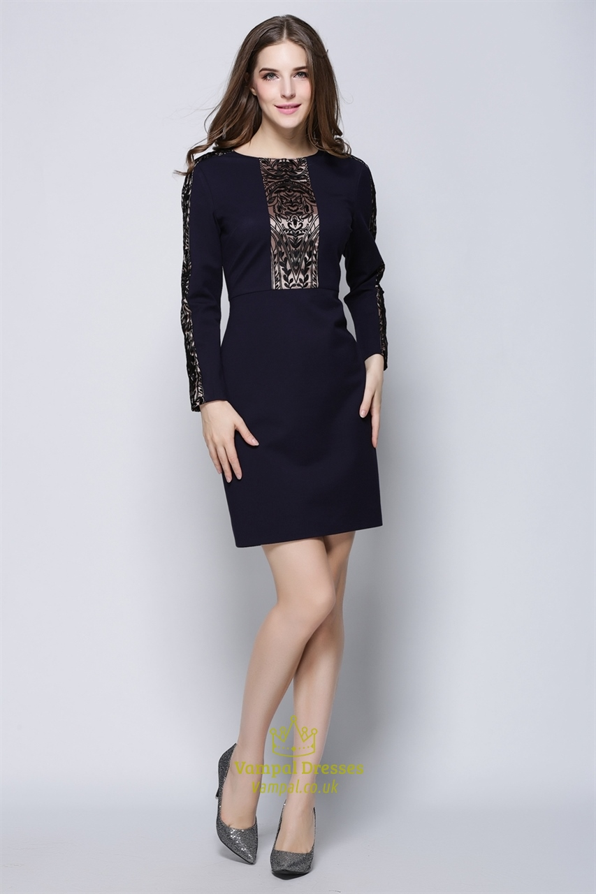 Women S Casual Dark Purple Embroidered Long Sleeve Dress