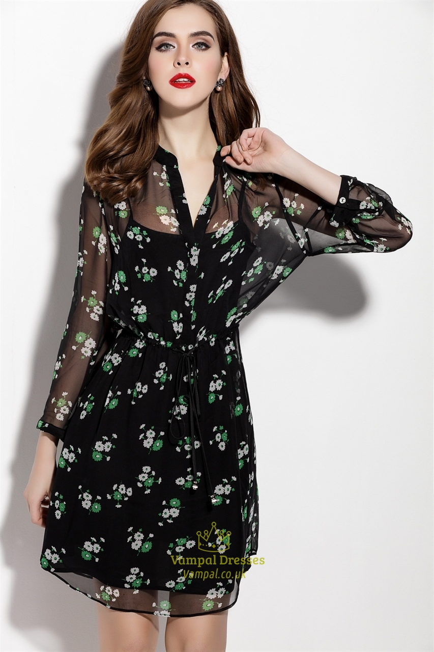 Casual Summer Floral Print Black Chiffon Overlay Dress