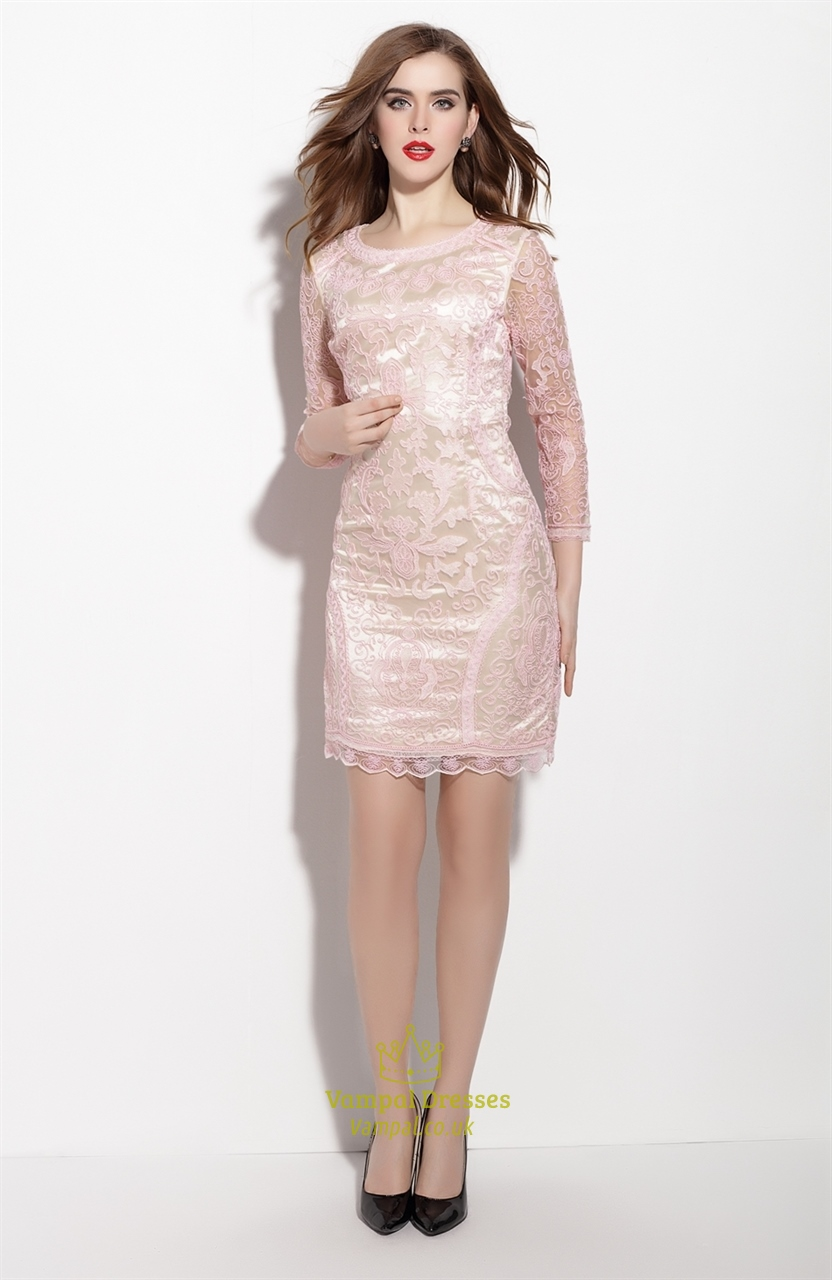 light pink embellished 34 length sleeve sheath dress