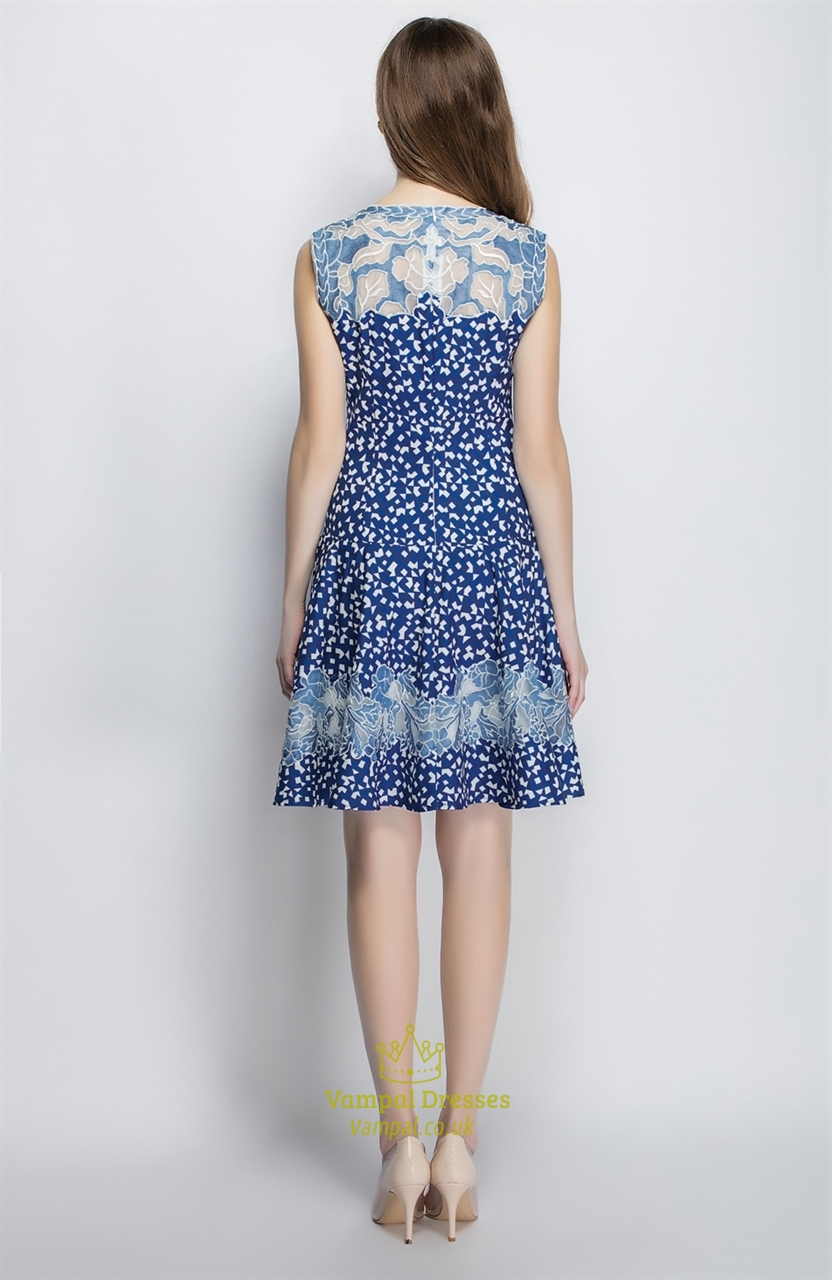 blue sleeveless floral print a line casual summer dress