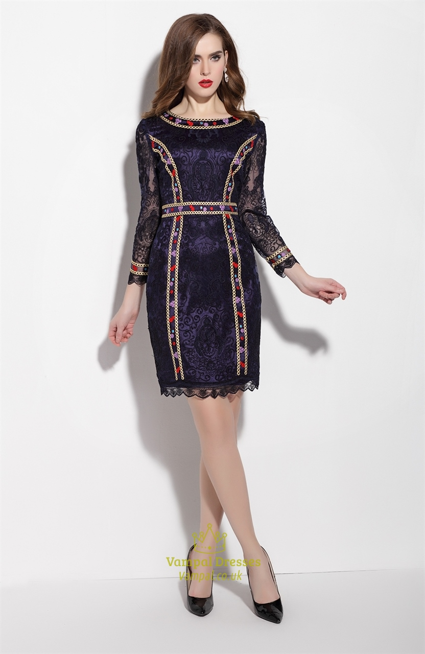 Navy Blue Embellished Long Sleeve Sheath Cocktail Dress
