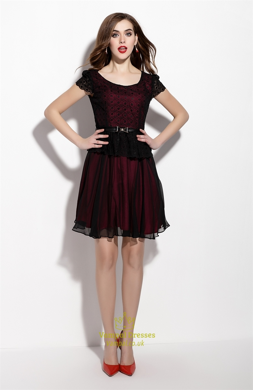 Black Cap Sleeve Sheer Overlay Cocktail Dress With Belt