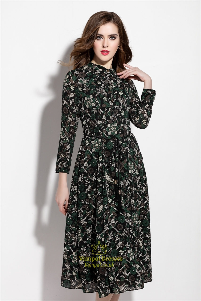 dark green floral print chiffon midi dress without belt
