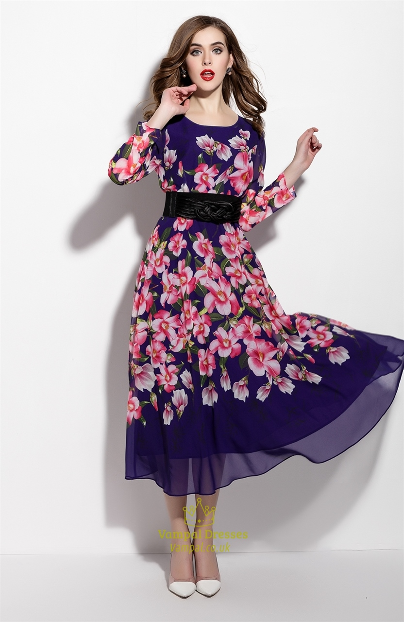 f8627b932bf8 Purple Floral Print Long Sleeve Chiffon Dress With Belt SKU -ML15258