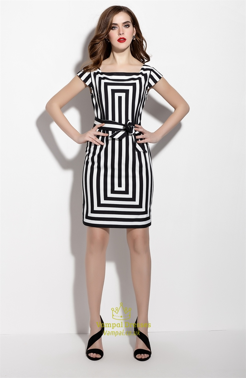White And Black Striped Cap Sleeve Cocktail Dress With Belt | Vampal ...