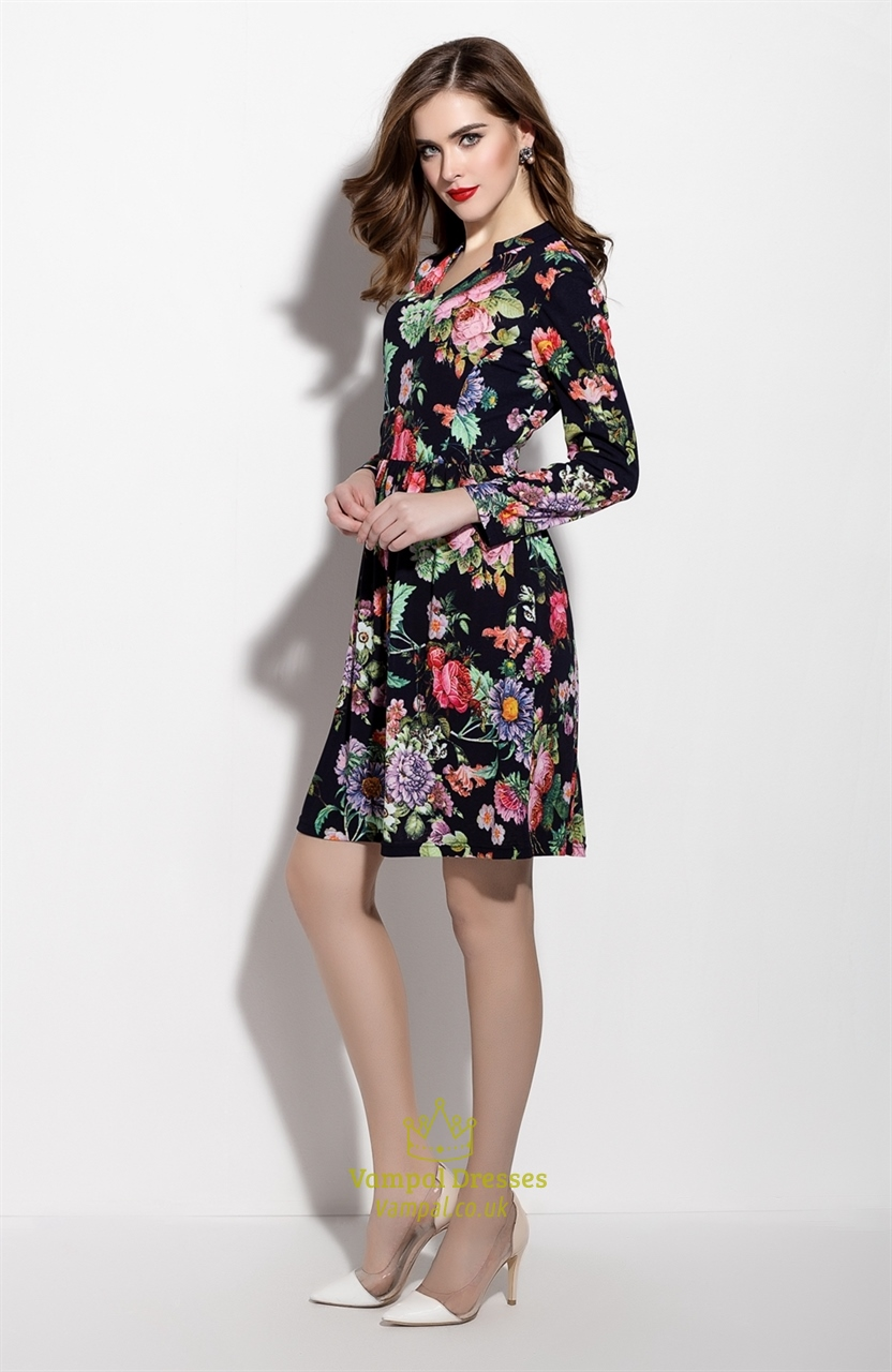 Casual Floral Print Long Sleeve Chiffon Summer Dress