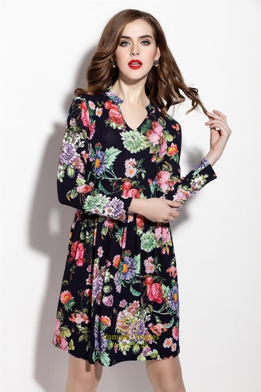 Casual Floral Print Long Sleeve Chiffon Summer Dress