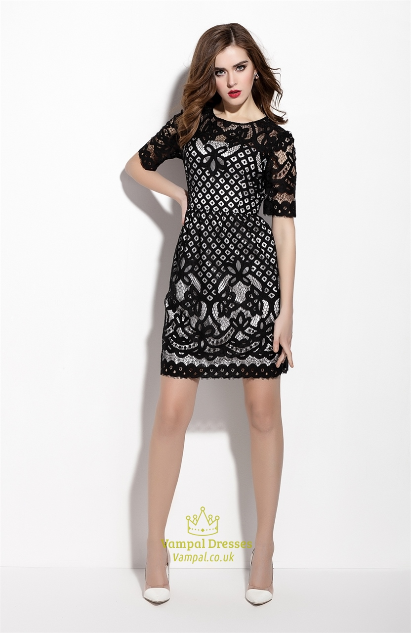 Black Lace Illusion Neckline Cocktail Dress With Half Sleeves ...