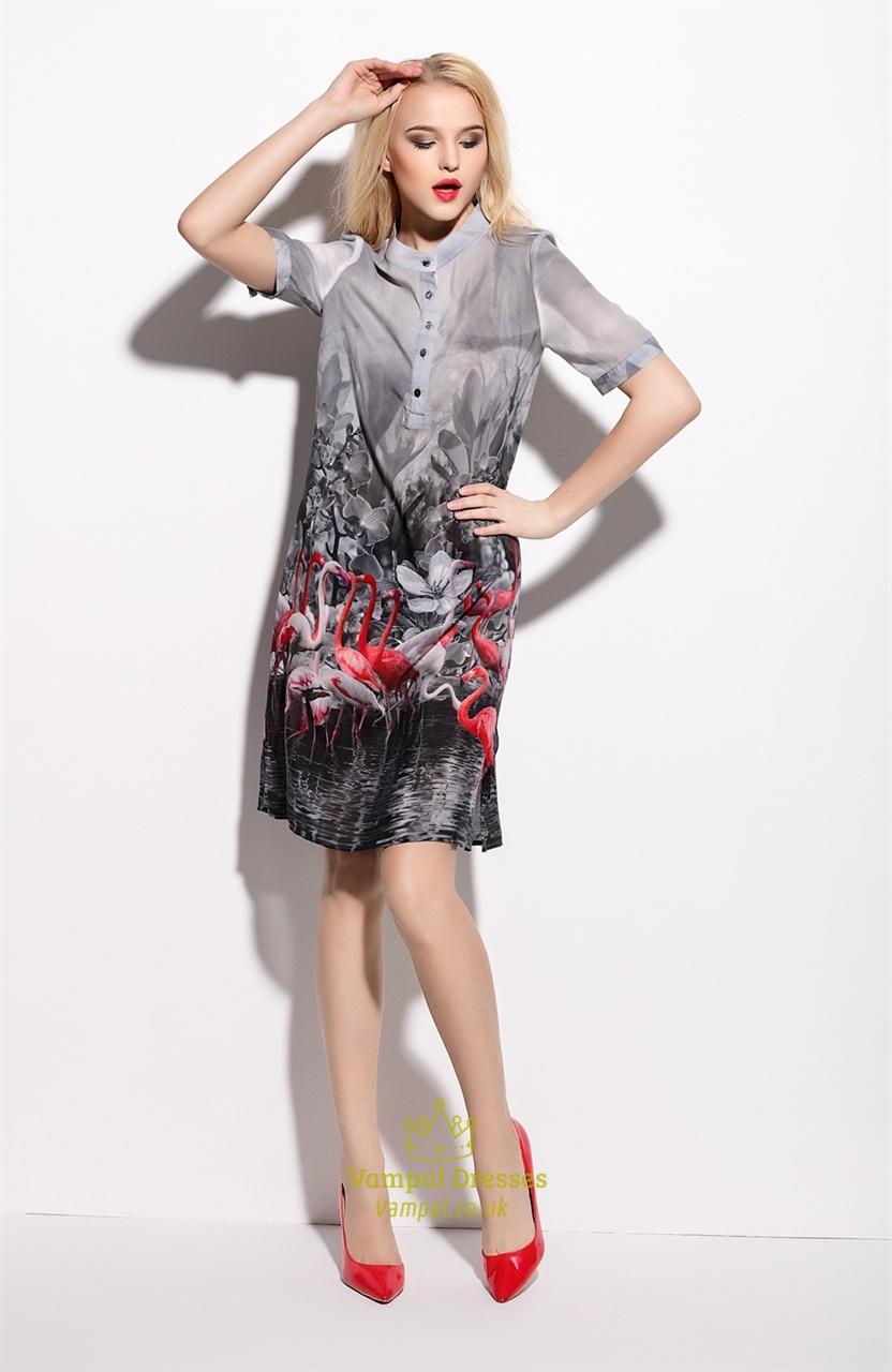 grey floral print chiffon shirt dress with short sleeves