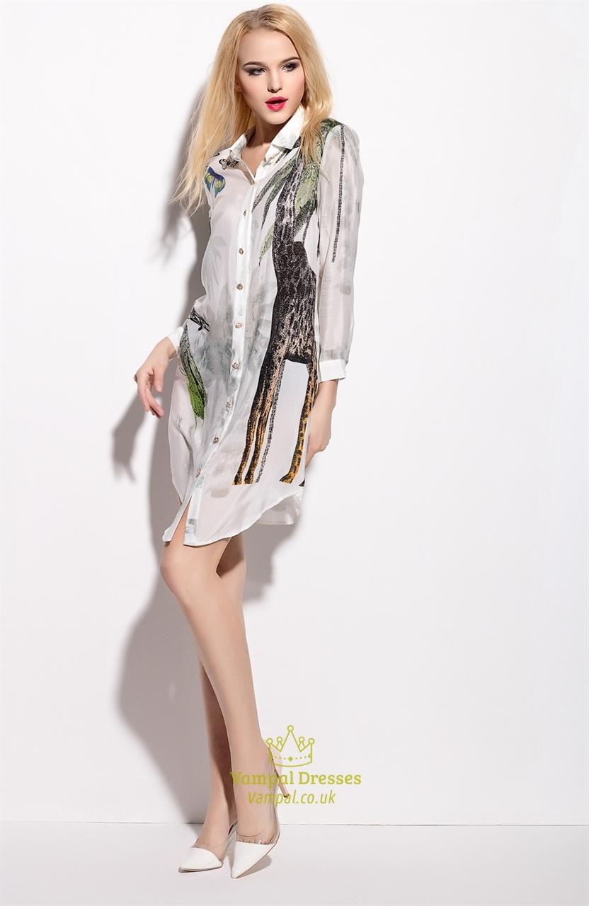e3c941a417f9 White Animal Print Chiffon Shirt Dress With Long Sleeve | Vampal Dresses