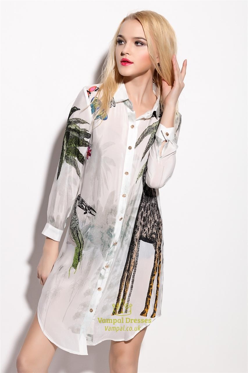 3f8d0942ca White Animal Print Chiffon Shirt Dress With Long Sleeve