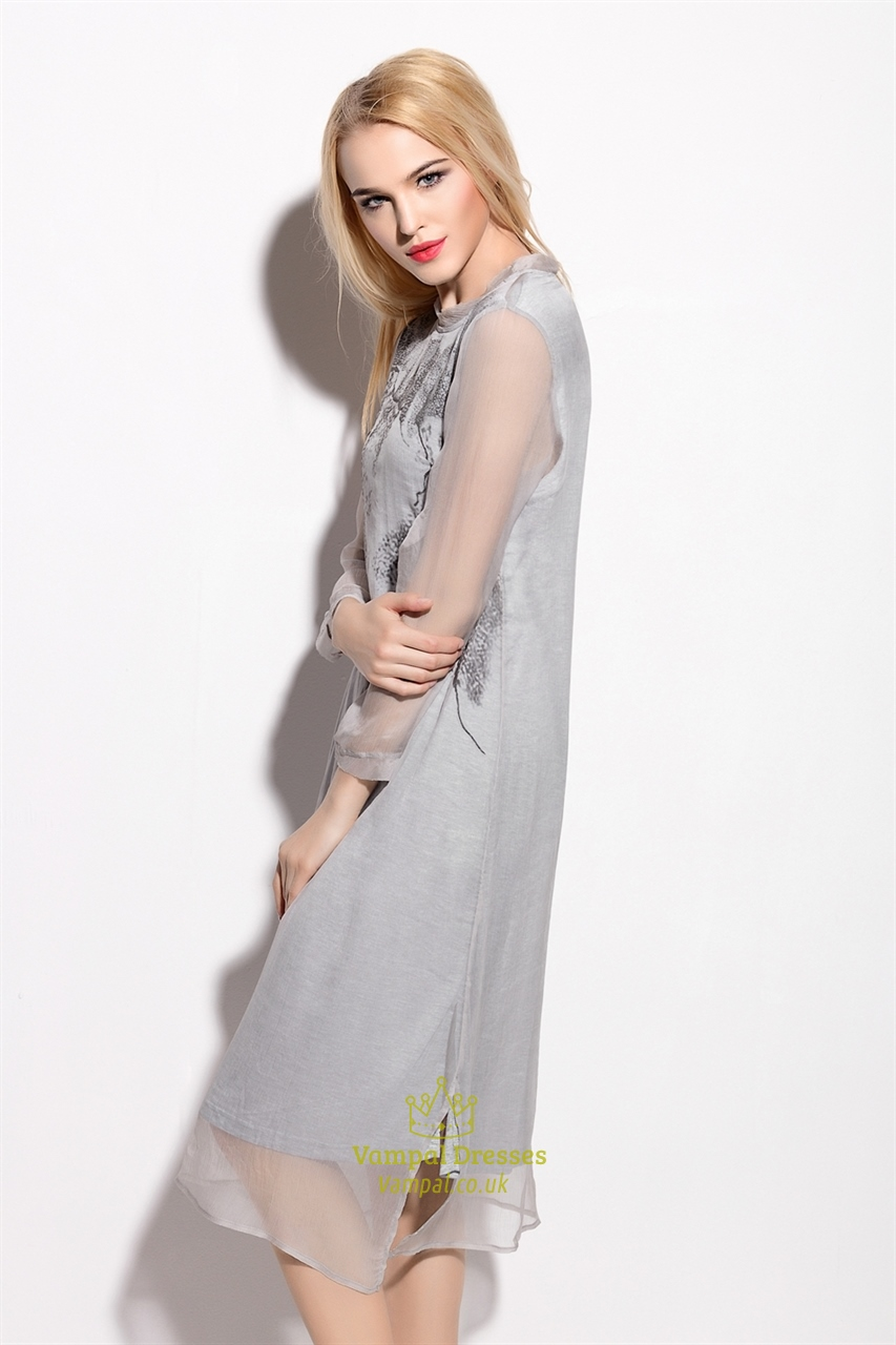 grey tea length sheer overlay dresses with long sleeves