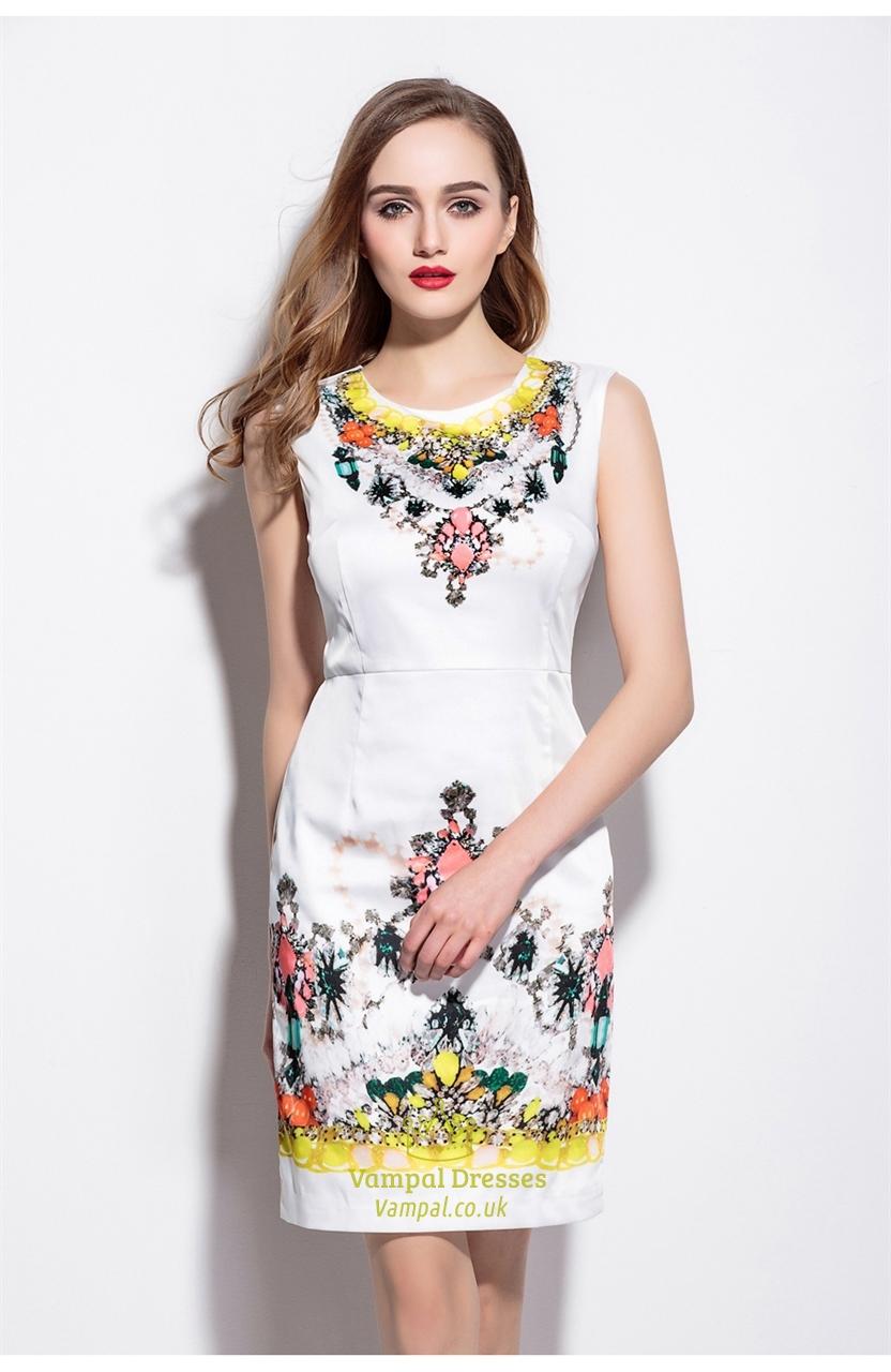 White Sleeveless Floral Print Summer Sheath Dress