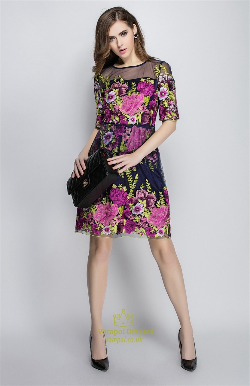 Navy Blue Illusion Neckline Floral Embroidered Tulle Dress