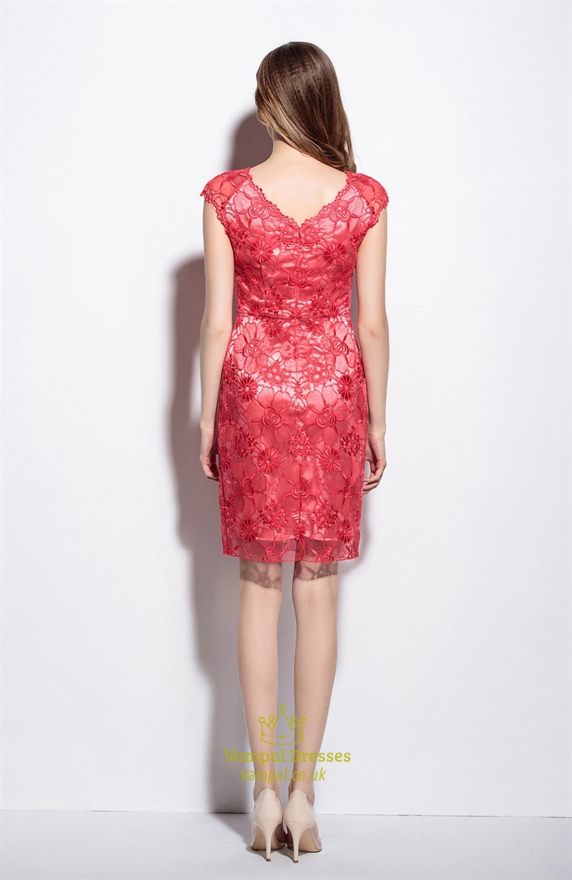 Red illusion neckline floral embroidered tulle dress with