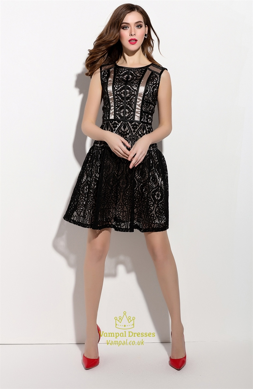 Black Sleeveless Lace Overlay Short Cocktail Dress | Vampal Dresses