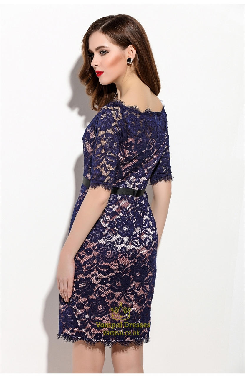 Navy Blue Lace Overlay Cocktail Dress With Half Sleeves ...