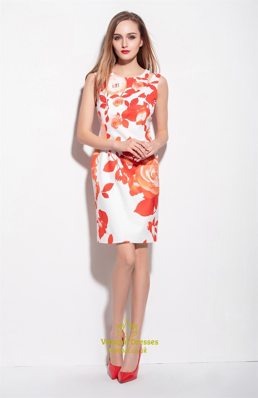 White Sleeveless Orange Floral Print Knee Length Summer ...