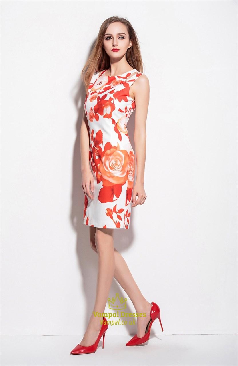 White Sleeveless Orange Floral Print Knee Length Summer ...