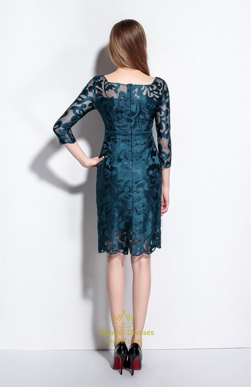 Midnight Green Square Neck Sheath Dress With 3 4 Sleeves