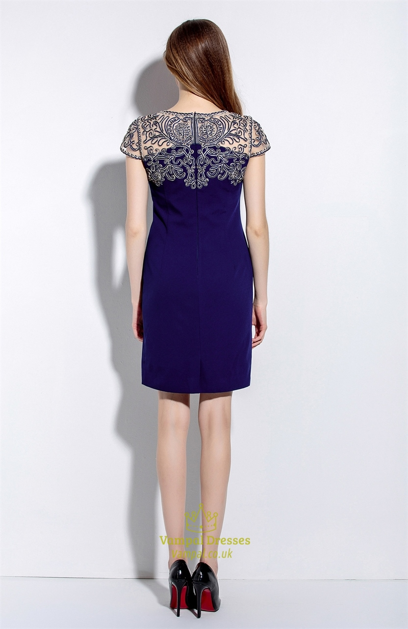 Navy Blue Illusion Neckline Embroidered Sheath Dress With