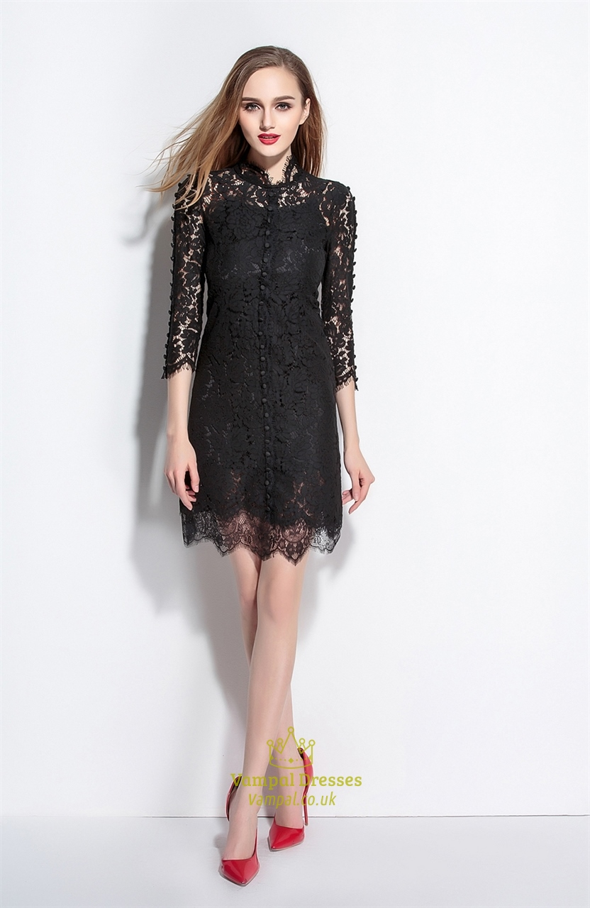 Black Lace High Neck A Line Dress With 3 4 Sleeves
