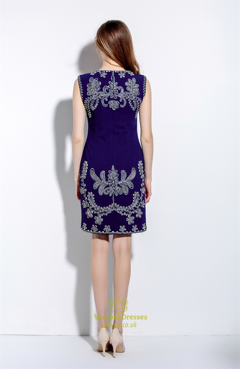 Women S Navy Blue Sleeveless Embroidered Sheath Cocktail