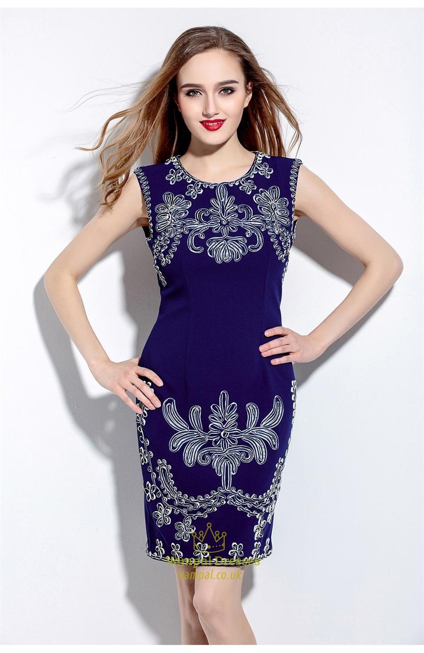 Brilliant AIZHEYI Women Plus Size Navy Blue Solid See-through Look Elegant Midi Dress DHORJRQ