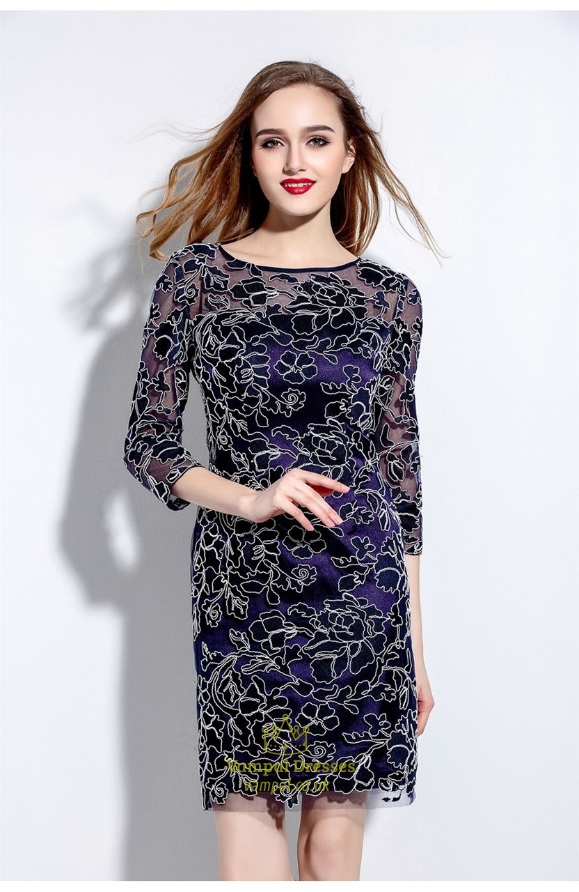 Navy blue embroidered lace overlay sheath dress with