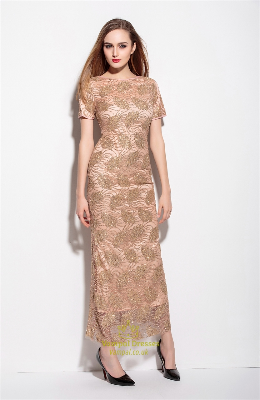 Champagne Beaded Embellished Long Dress With Short Sleeves
