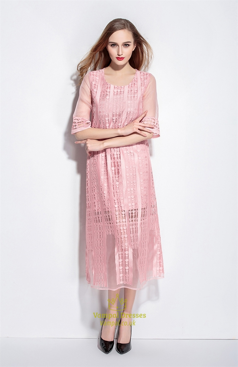 Pink Lace Overlay Tea Length Dresses With Sleeves | Vampal Dresses
