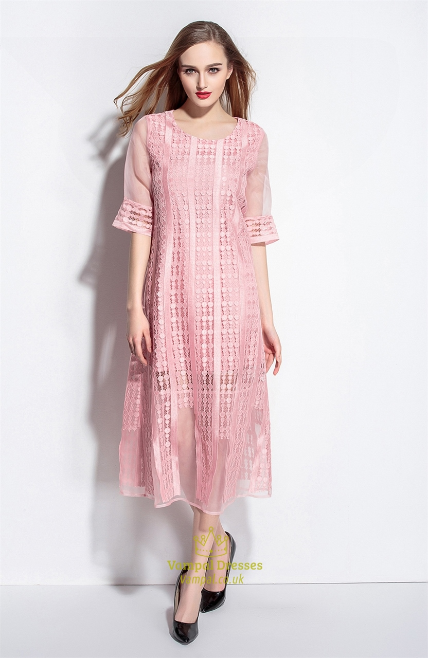 Pink Lace Overlay Tea Length Dresses With Sleeves Vampal