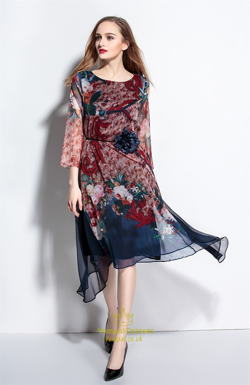 Casual Summer Chiffon Floral Print Dresses With Flower ...