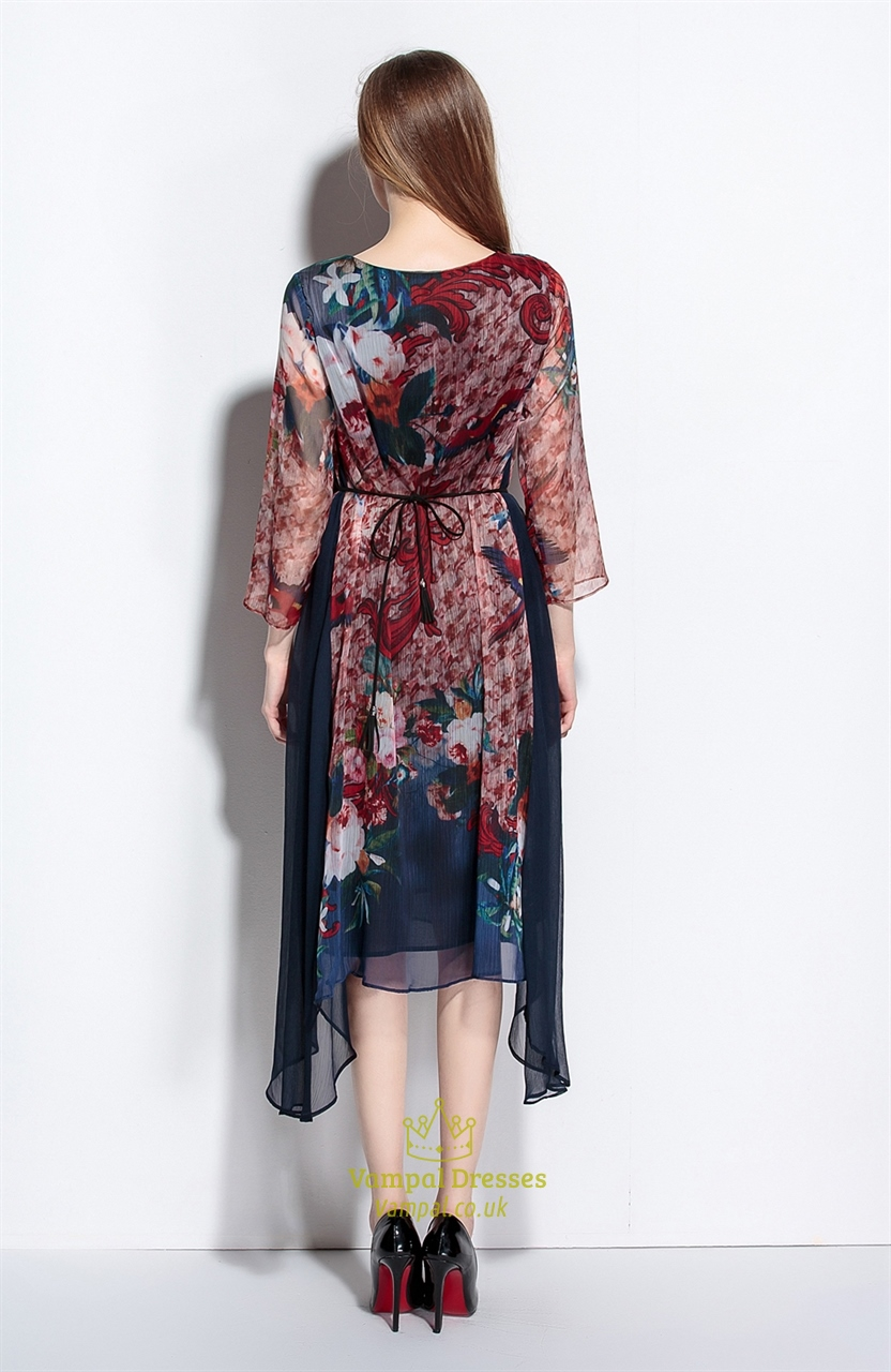 Casual Summer Chiffon Floral Print Dresses With Flower