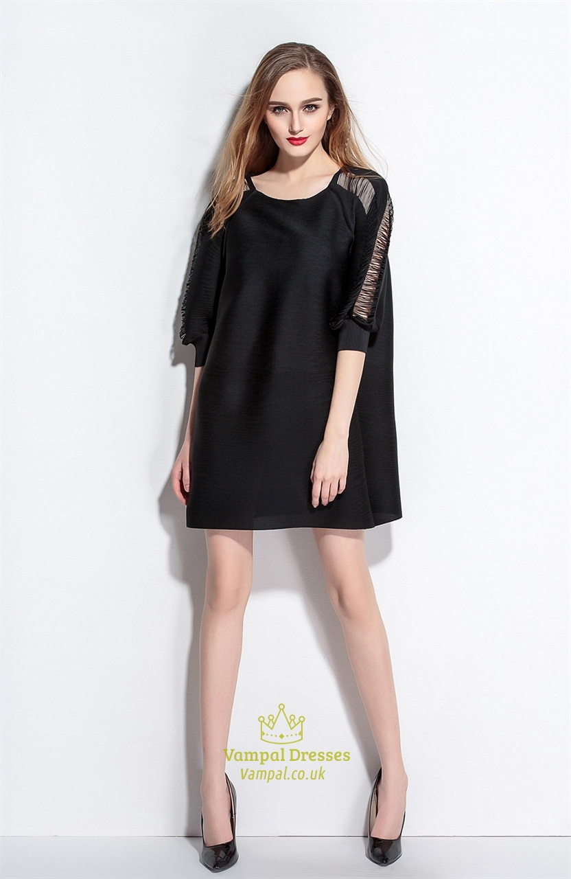 Black dress loose - Casual Black Square Neckline Hollow Out Loose Dress