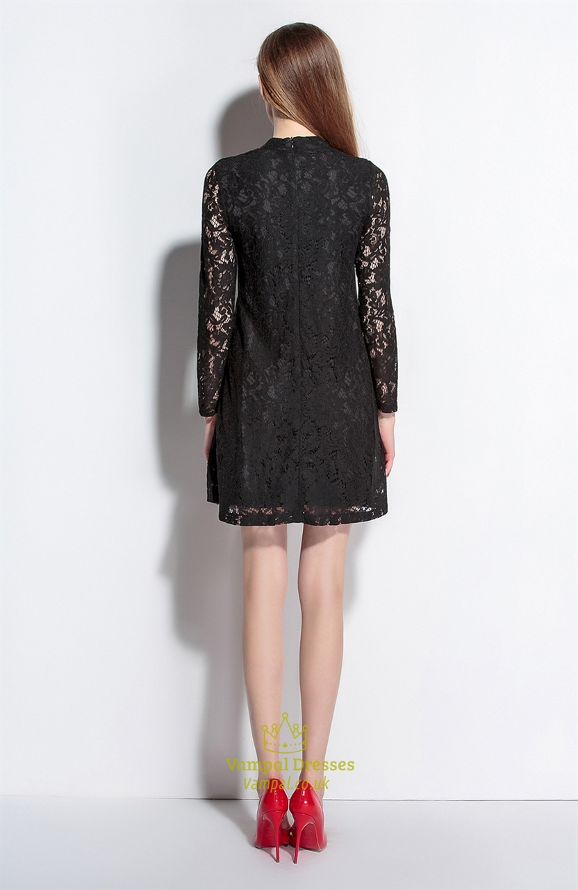 Black High Neck A Line Dress With Lace Long Sleeves