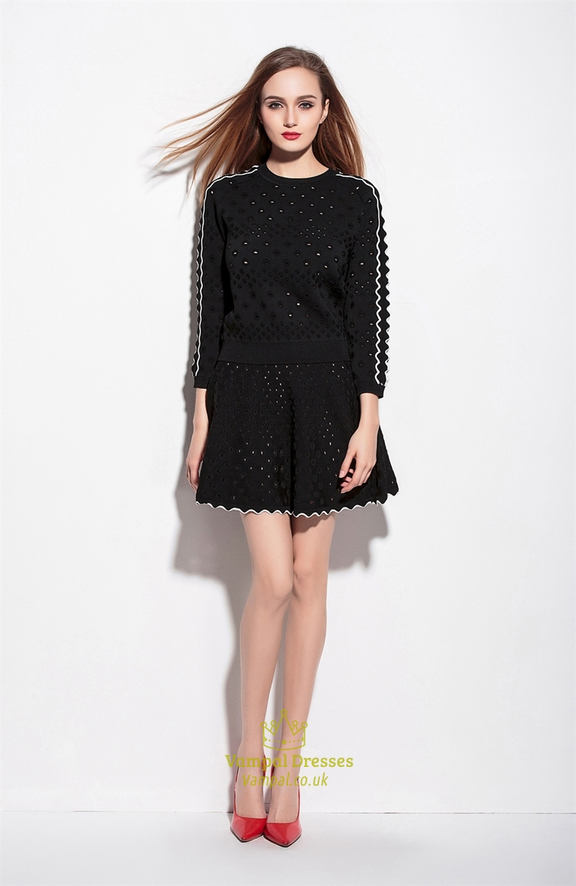 Black Two Piece Short Wool Dress With Long Sleeve | Vampal