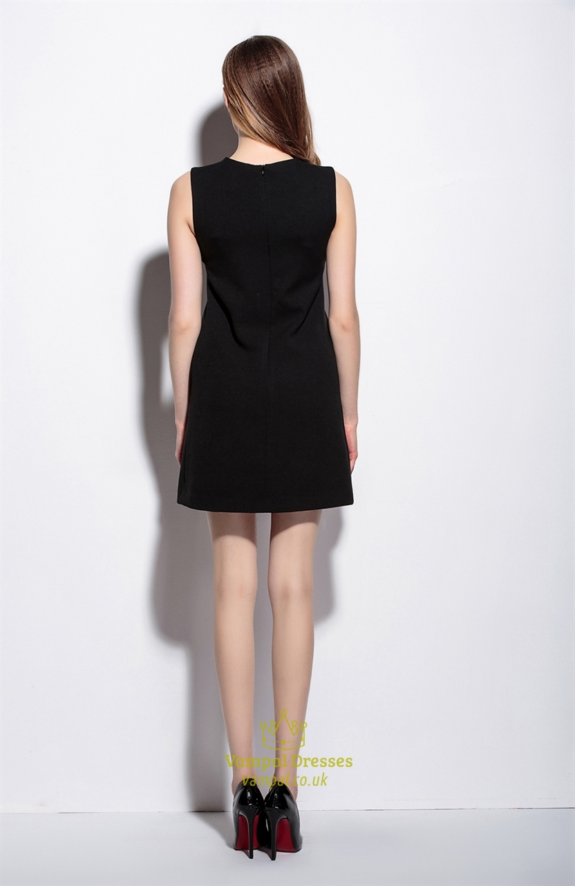 Women S Casual Simple Black Short Sleeveless A Line Dress