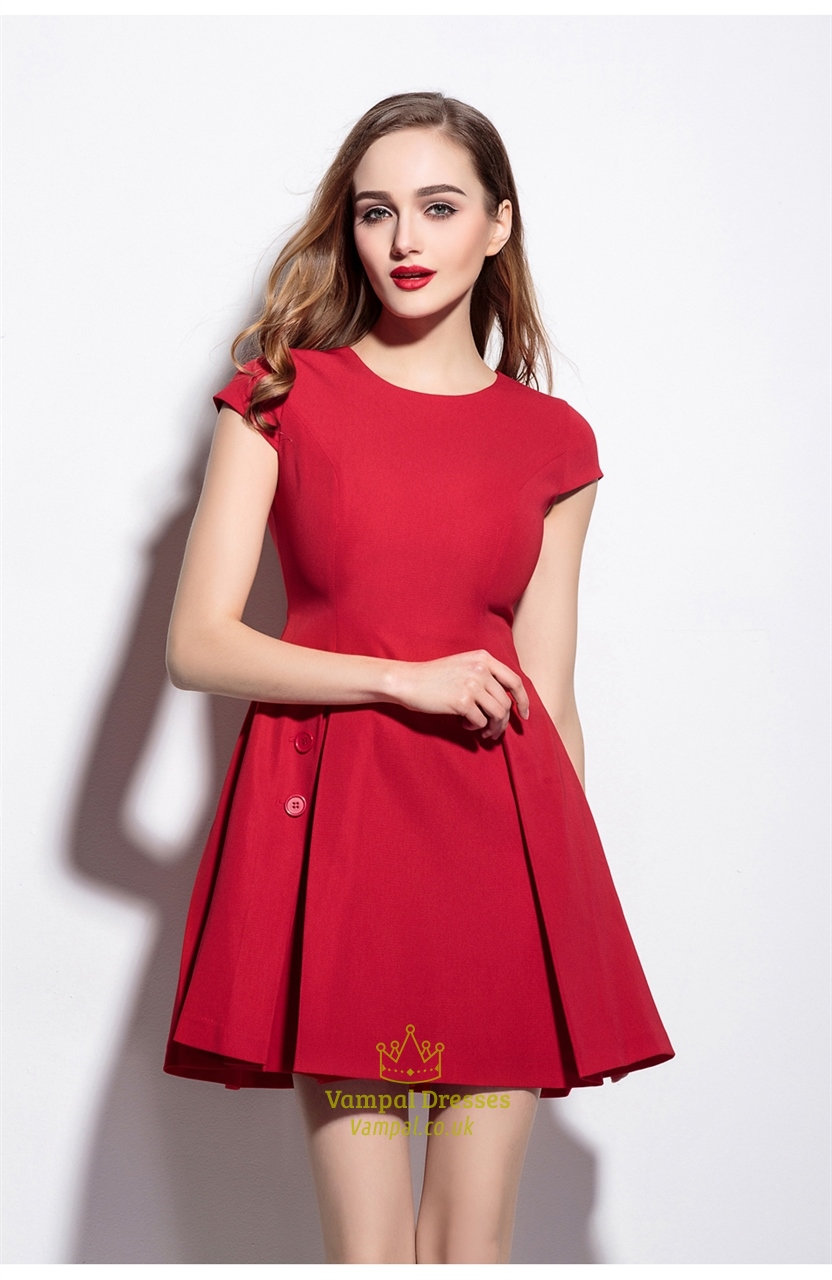 Red Short Fit And Flare Skater Dress With Cap Sleeves  d46eb7277