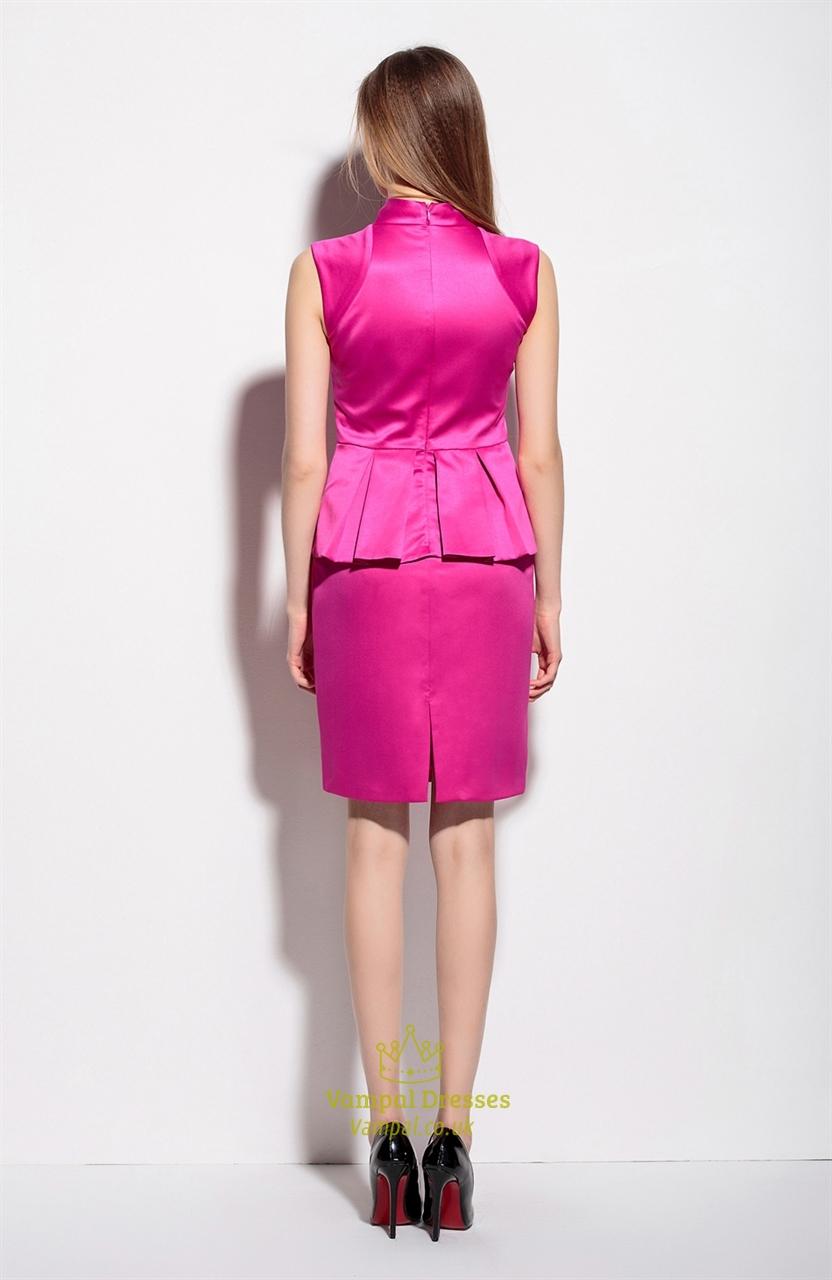 hot pink sleeveless v neck peplum work appropriate dress