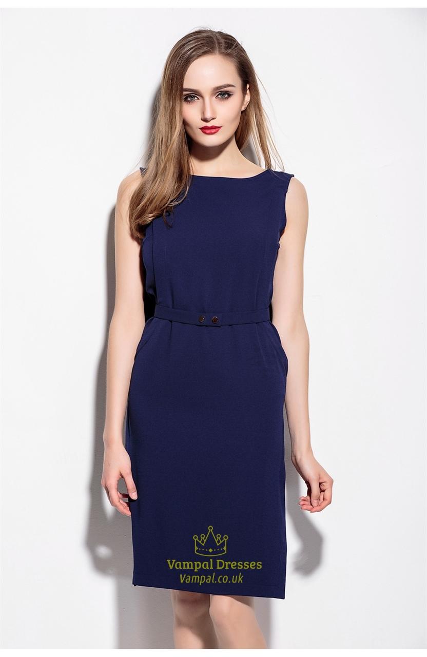 Simple Navy Blue Sleeveless Short Dress With Belt Vampal