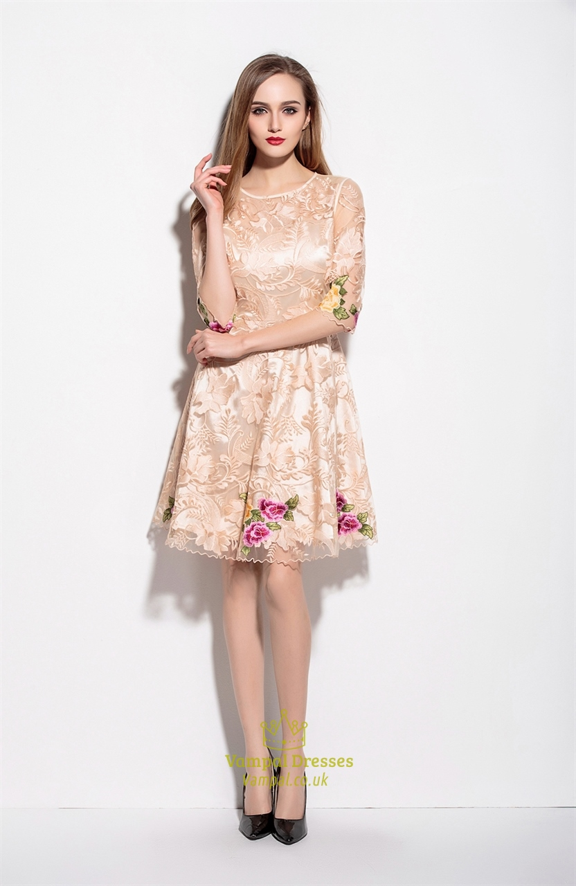 Champagne Lace Illusion Neckline Embroidered Overlay Cocktail Dress ...