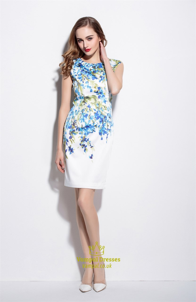 991436d6e9c51 White Sleeveless Blue Floral Print Knee Length Summer Dress SKU -ML16022