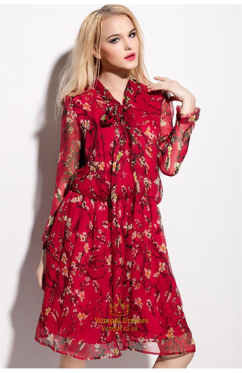 e43ef0d5e3cc Red Floral Print Chiffon Overlay Knee Length Dress