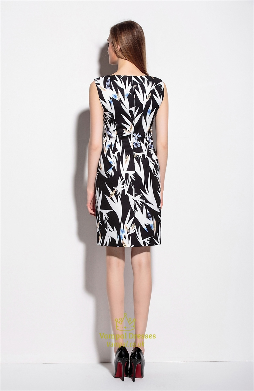 Black And White Sleeveless Floral Print Summer Dress