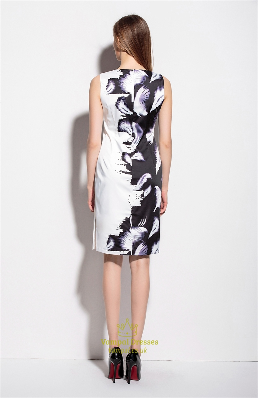 Black And White Sleeveless Knee Length Feather Print Dress
