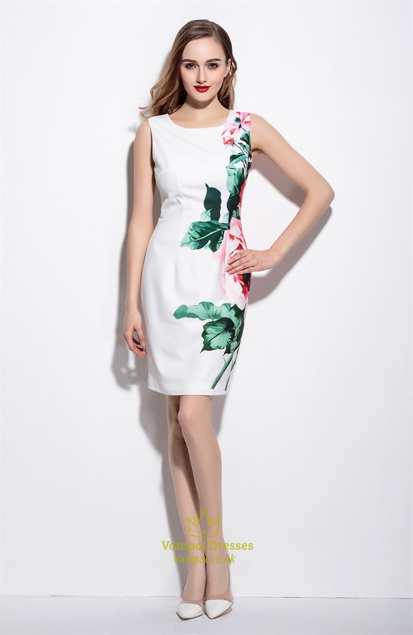 vintage style sleeveless floral print sheath cocktail dress
