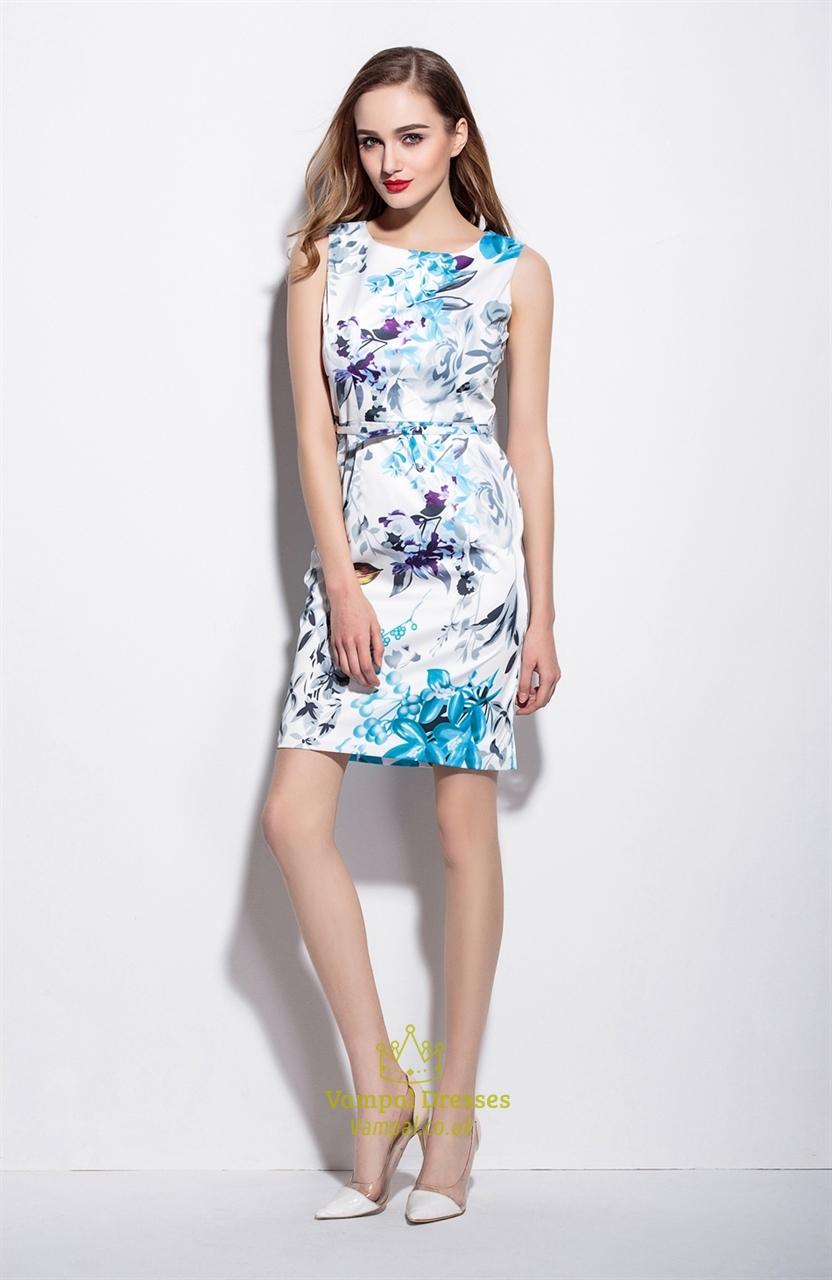 Casual White Sleeveless Floral Print Summer Sheath Dresses ...