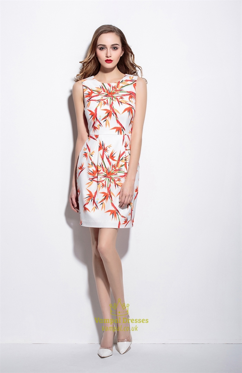 Casual Summer White Sleeveless Floral Print Sheath Dress